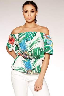 Quiz Tropical Print Bardot Top