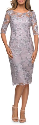 La Femme Shimmer Lace Sheath Dress