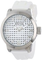 Kenneth Cole Reaction Unisex RK1319 Street Triple White Perforated Analog Dial Watch