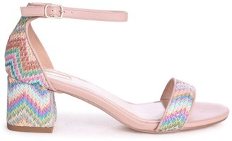 Linzi SOCIALITE - Multi Coloured Aztec Pattern Barely There Block Heeled Sandal