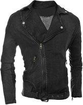 uxcell® Man Collared Zip Up Denim Jacket M