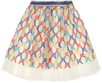 Gucci Kids GG embroidered tulle skirt