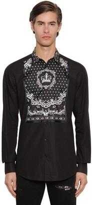 Dolce & Gabbana Cotton & Silk Gold Shirt W/Crown