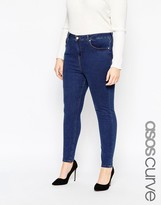 Asos Ridley Ankle Grazer Jean In Cherry Blue Indigo