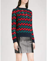 Sandro Chevron-knit mohair-blend jumper