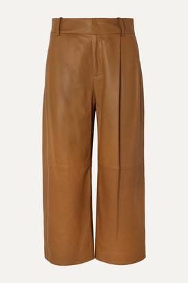 Vince Cropped Leather Wide-leg Pants - Camel