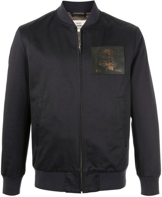 Kent & Curwen Leather Patch Bomber Jacket