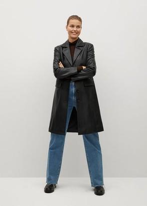 MANGO Pockets leather jacket black - S - Women