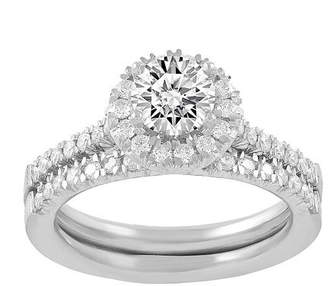 Modern Bride Womens 1 CT. T.W. Genuine White Diamond 14K White Gold Bridal Set Family