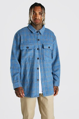 boohoo Mens Blue Long Sleeve Heavy Weight Check Overshirt, Blue
