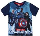Marvel Boy's Captain America - Team Ca - Kids T - Navy ,T-shirt, (Navy)