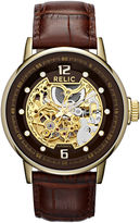 JCPenney RELIC Relic Mens Gold-Tone Automatic Skeleton Leather Strap Watch ZR77241