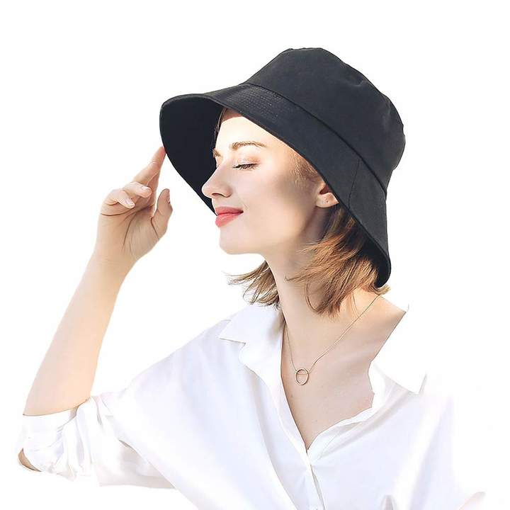 cf1727d681e204 Clothing & Accessories Girls TokLask New Sun Hats Bow Cotton Fisherman Hat  Wide Large Brim Anti-UV Beach Caps Girls Travel Foldable Sunscreen Caps