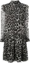 Burberry ruffle detail animal print dress - women - Polyester/Mulberry Silk - 12