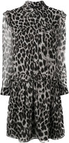 Burberry ruffle detail animal print dress - women - Polyester/Mulberry Silk - 6