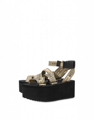 Moschino Logo Tape Wedge Sandals Woman Gold Size 35 It - (5 Us)