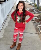 Beary Basics Red Silver Reindeer Top & Red Reindeer Leggings - Toddler & Girls