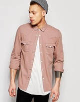 Asos Western Denim Shirt In Dusty Pink With Long Sleeves