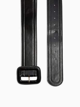 Topshop Top Stitch Wide Belt - Mono