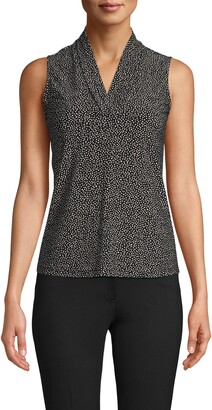 Anne Klein Dot Triple Pleat Sleeveless Top