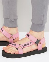 Asos Sandals In Pink With Slogan Strap