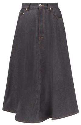 Loewe Pleated-back Cotton-denim Skirt - Denim