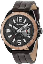 Police BROWN LEATHER WATCH WITH BLACK DIAL