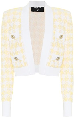 Balmain Exclusive to Mytheresa Houndstooth jacquard cropped jacket