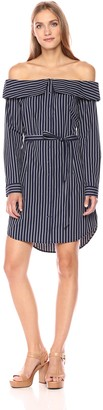 Kensie Women's Oxford Shirting Stripe Off Shoulder Dress