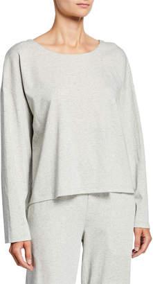 Eileen Fisher Plus Size Speckle Knit Jewel-Neck Long-Sleeve Box Top