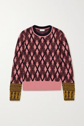 Dries Van Noten Embroidered Metallic Argyle Knitted Sweater - Pink