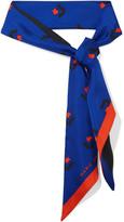 Marc Jacobs Tulip-print Silk-twill Scarf - Bright blue