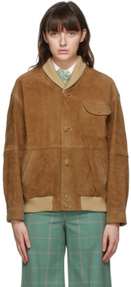 Gucci Brown Suede Oversized Bomber Jacket