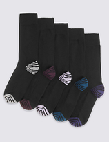 Marks And Spencer Marks And Spencer 5 Pack Of Freshfeettm Striped Socks With Silver Technology