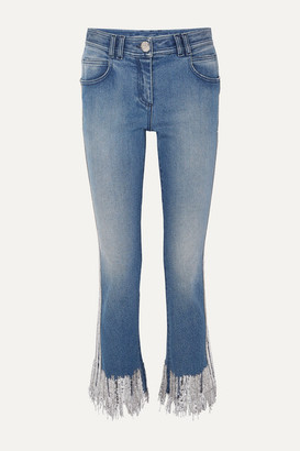 Balmain Fringed Embellished Mid-rise Straight-leg Jeans - Blue