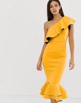 Asos Design DESIGN structured ruffle one shoulder pep hem bodycon dress