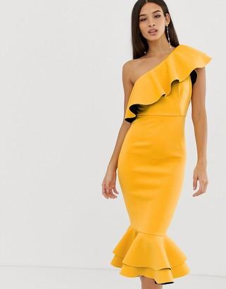 Asos Design DESIGN structured ruffle one shoulder pep hem bodycon dress-Yellow