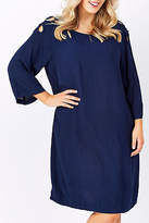ELM NEW Womens Knee Length Dresses Keyhole Dress Navy