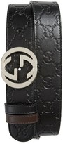 Gucci Men's Logo Buckle Interlocking Leather Belt