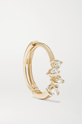 STONE AND STRAND Sparkle Gold Diamond Hoop Earrings - one size