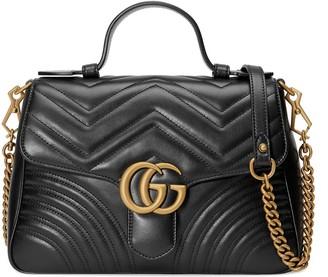 Gucci black GG Marmont small top handle bag