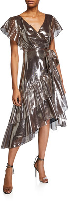 Tanya Taylor Dita Metallic Ruffle Wrap Dress