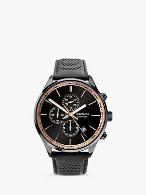 Sekonda 1774 Men's Chronograph Date Leather Strap Watch, Black