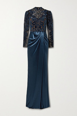 Marchesa Open-back Embellished Velvet And Tulle Gown - Navy