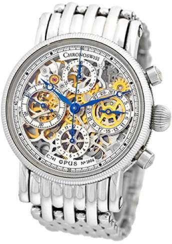 """Chronoswiss Opus"""" CH7523S SBL Stainless Steel Chronograph Automatic 38mm Mens Watch"""