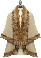 M&Co Luxe faux fur trim cape