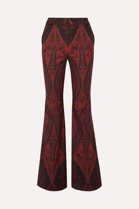 ADAM by Adam Lippes Printed Stretch-cotton Jacquard Wide-leg Pants - Brick