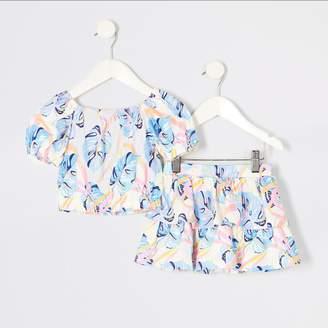 River Island Mini girls Blue leaf printed crop top outfit