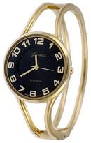 Geneva Platinum Women's Round Face Polished Bangle Watch - Gold/Black