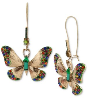 Betsey Johnson Gold-Tone Multicolor Crystal Butterfly Drop Earrings